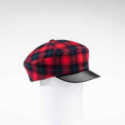 NANCY - TARTAN NEWSBOY CAP HAT WITH LEATHER CAP HAT GOLF  5800 RED TARTAN ADJUSTABLE
