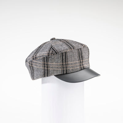 NANCY - TARTAN NEWSBOY CAP WITH LEATHER CAP GOLF  7900 GREY TARTAN ADJUSTABLE