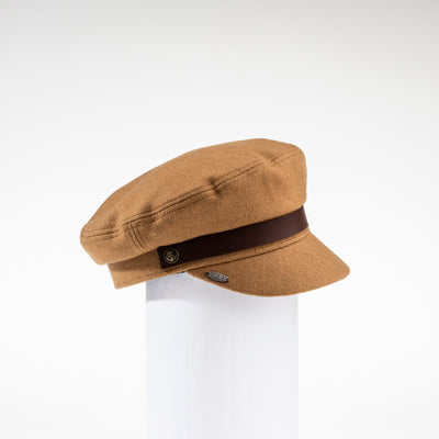 NAOMI - SAILOR CAP HAT WITH LEATHER BAND GOLF  6400 CAMEL O/S