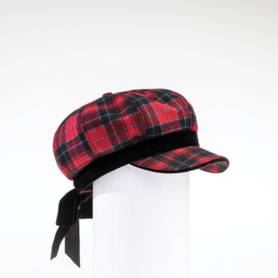 CASANDRA - NEWSBOY CAP HAT WITH BOW GOLF  5800 RED TARTAN O/S