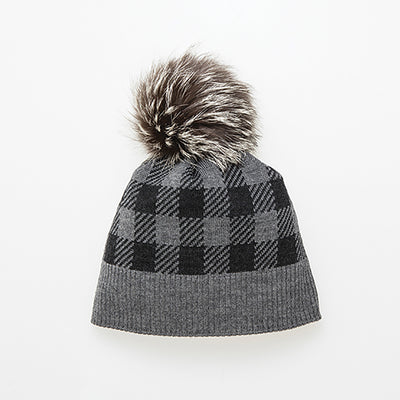 CANA-P - PLAID BEANIE WITH POM GOLF  7900 GREY O/S