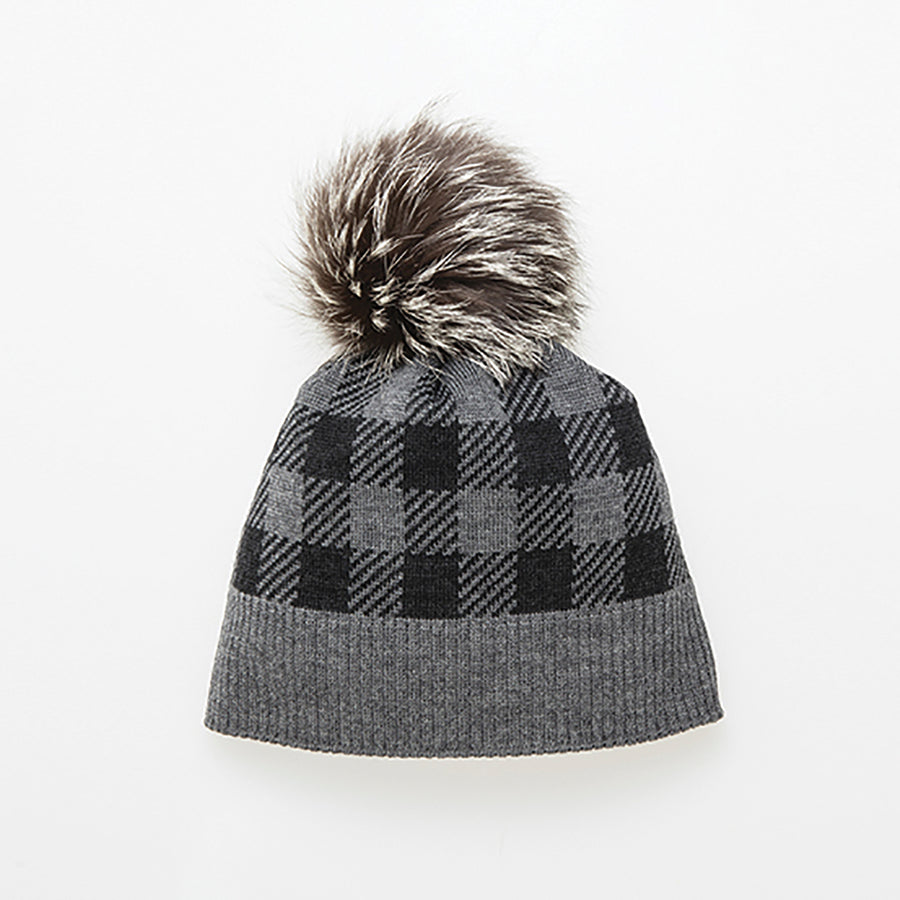 CANA-P - PLAID BEANIE WITH POM