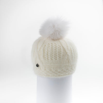 VALE-P - ANGORA BEANIE WITH UPCYCLED FUR POM GOLF  1300 IVORY O/S
