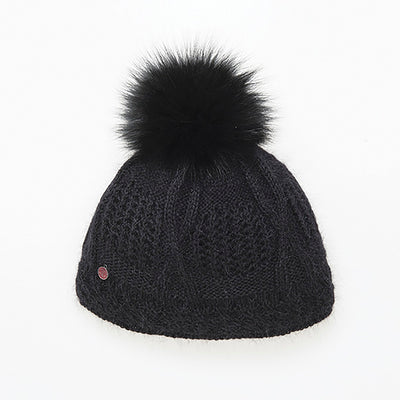 VALE-P - ANGORA BEANIE WITH UPCYCLED FUR POM GOLF  2100 BLACK O/S