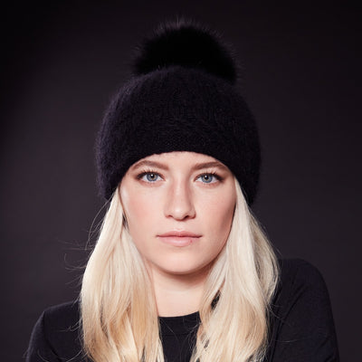 VALE-P - ANGORA BEANIE WITH UPCYCLED FUR POM