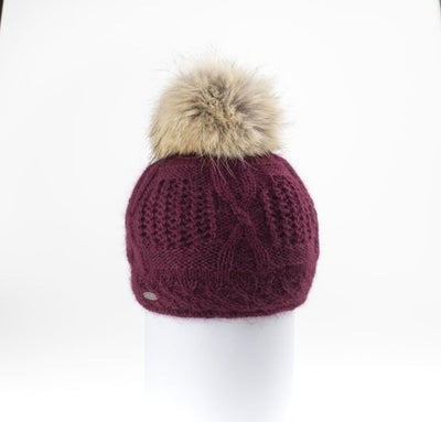 VALE-P - ANGORA BEANIE WITH UPCYCLED FUR POM GOLF  3800 BURGUNDY O/S