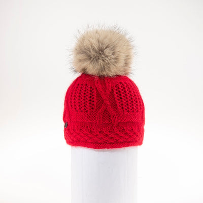 VALE-P - ANGORA BEANIE WITH POM FASHION  5800 RED O/S