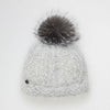 VALE-P - ANGORA BEANIE WITH UPCYCLED FUR POM GOLF  7979 GREY-SILVER FOX O/S