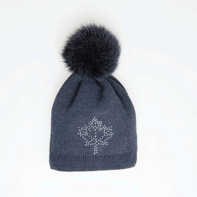 PINA MAPLE LEAF CRYSTAL BEANIE WITH POM GOLF  4500 NAVY O/S