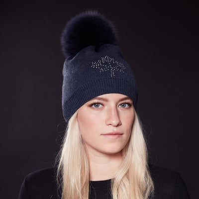 PINA MAPLE LEAF CRYSTAL BEANIE WITH POM