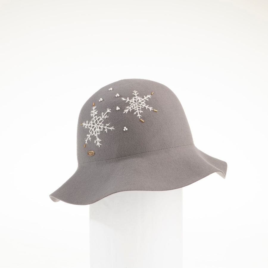 CANDRA - FELT CLOCHE WITH EMBROIDERED SNOWFLAKES