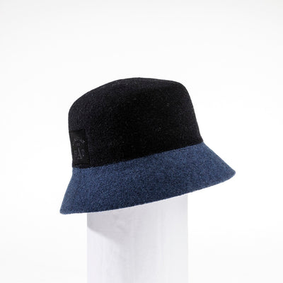 CYBIL - COLOR BLOCKED BUCKET HAT GOLF  2100 BLACK-BLUE ADJUSTABLE