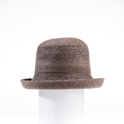 CARITA - WOOL CLOCHE HAT WITH FOLDABLE BRIM GOLF  8300 COFFEE MIX ADJUSTABLE