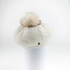VIRGINIA - ANGORA BERET HAT WITH UPCYCLED FUR POM GOLF  1300 IVORY O/S
