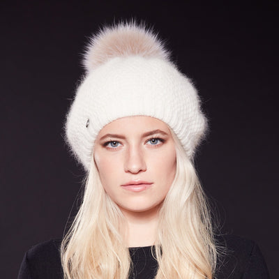 VIRGINIA - ANGORA BERET HAT WITH UPCYCLED FUR POM