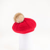 VIRGINIA - ANGORA BERET HAT WITH UPCYCLED FUR POM GOLF  5800 RED O/S