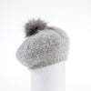 VIRGINIA - ANGORA BERET HAT WITH UPCYCLED FUR POM GOLF  7900 GREY O/S