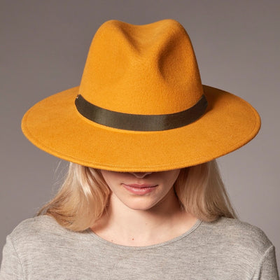 FERNANDA - FELT FEDORA HAT WITH REMOVABLE RIBBON