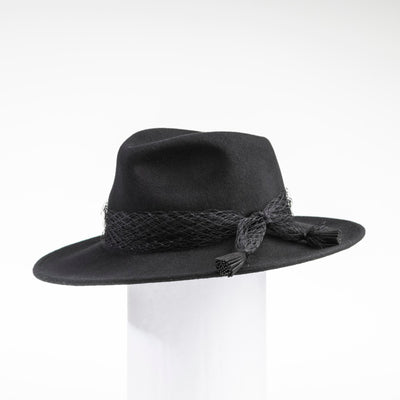 FELDA - FELT FEDORA WITH MESH TRIM GOLF  2100 BLACK O/S