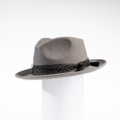 FELDA - FELT FEDORA WITH MESH TRIM GOLF  7900 GREY O/S