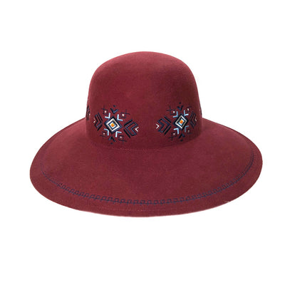 FELA - FELT FLOPPY HAT WITH EMBROIDERY GOLF  3800 BURGUNDY ADJUSTABLE