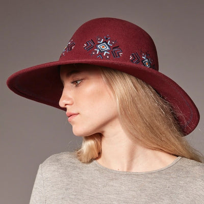FELA - FELT FLOPPY HAT WITH EMBROIDERY