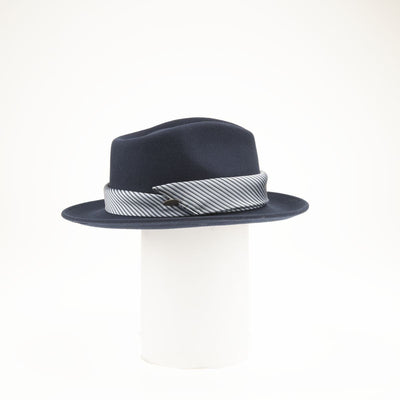 FALIA - FEDORA HAT WITH UPCYCLED TIE TRIM GOLF  4500 NAVY ADJUSTABLE