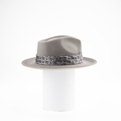 FALIA - FEDORA HAT WITH UPCYCLED TIE TRIM GOLF  7900 GREY ADJUSTABLE