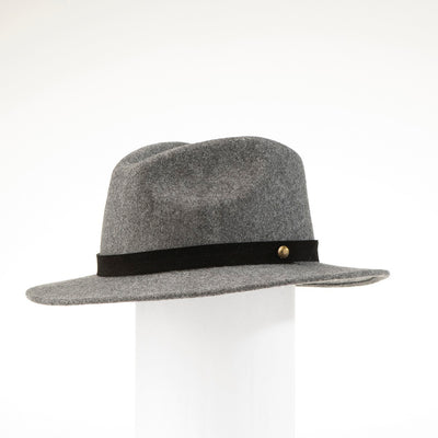 MILES - UNISEX FEDORA HAT WITH METAL BUTTON GOLF  8200 HEATHER GREY ADJUSTABLE