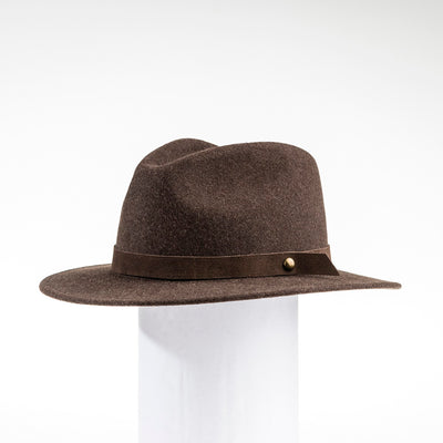 MILES - UNISEX FEDORA HAT WITH METAL BUTTON GOLF  9500 BROWN ADJUSTABLE