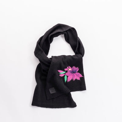 SAILEY - SCARF WITH COLORFUL EMBROIDERY GOLF  2100 BLACK-PINK O/S