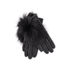 LEATHER GLOVES WITH FUR GOLF  2121 BLACK - BLACK FOX M