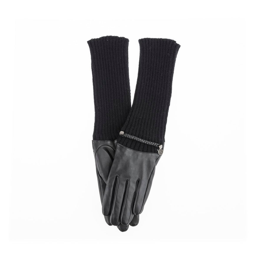 GAIA - LONG GLOVES WITH LEATHER AND KNIT GOLF  2100 BLACK ONE SIZE