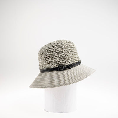 CARLIE LARGE  CROCHET CLOCHE W/ LEATHER BAND GOLF  7900 GREY ADJUSTABLE