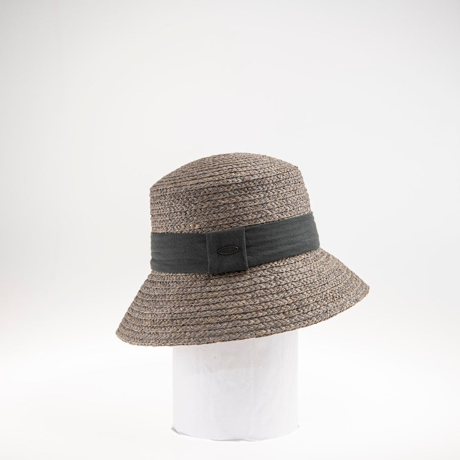 CELIA FLAT TOP CLOCHE W/ LINEN RIBBON
