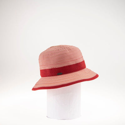 CANADIAN HAT WOMEN'S FASHION CLAIRINE RIBBON CLOCHE W/ STRAW BAND  5800 RED ADJUSTABLE