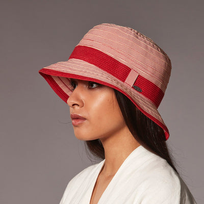 CLAIRINE RIBBON CLOCHE HAT WITH STRAW BAND