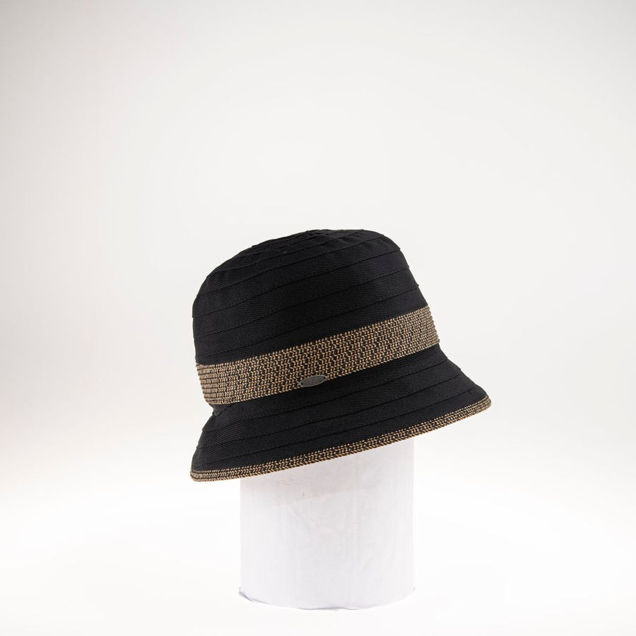 CANOL BUCKET HAT W/ RIBBON & PAPER STRAW