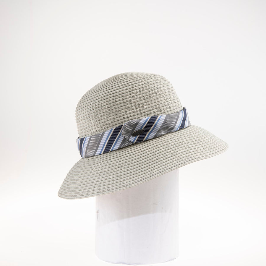 TILA LARGE CLOCHE W/ RECYCLED TIE GOLF  0900 BEIGE ADJUSTABLE