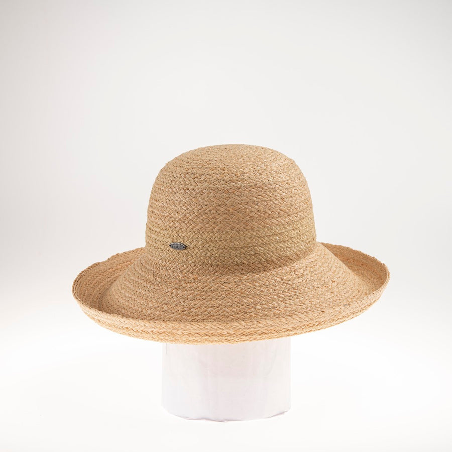 CAMILIE LARGE CLOCHE W FOLDED BRIM (NO RIBBON) GOLF  4400 NATURAL ADJUSTABLE