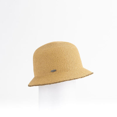 CANADIAN HAT CLAILIE SHORT CLOCHE WITH RAFFIA DETAIL 0900 BEIGE