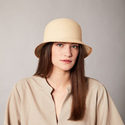 CLAILIE SHORT CLOCHE WITH RAFFIA DETAIL