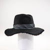 TOMMY LARGE FEDORA W/ RECYCLED TIE TRIM GOLF  2100 BLACK ADJUSTABLE