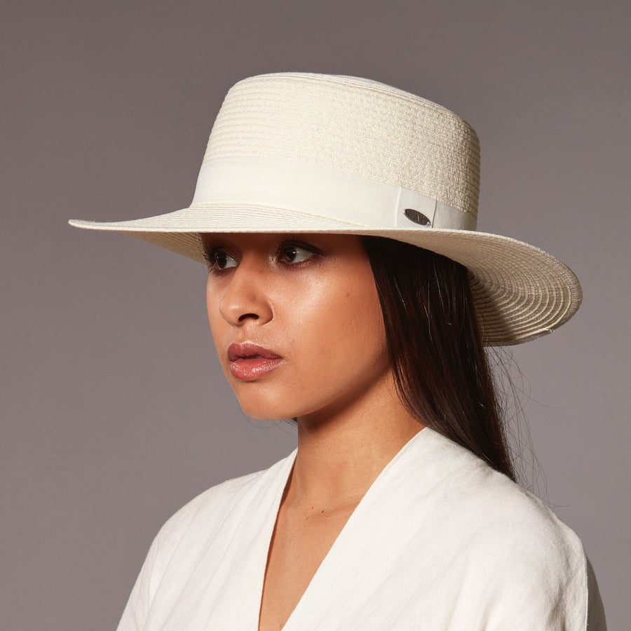 BARB BOATER HAT W/ GROSGRAIN TRIM