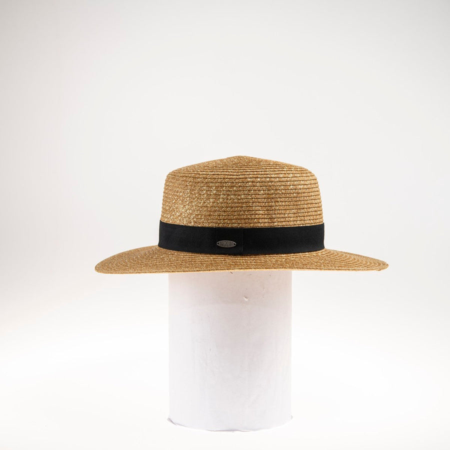 BARB BOATER HAT WITH GROSGRAIN TRIM