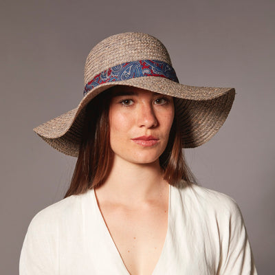 TANIA FLOPPY HAT W/ RECYCLED TIE TRIM