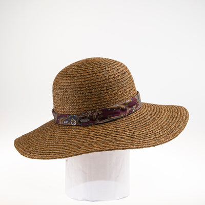 TANIA FLOPPY HAT W/ RECYCLED TIE TRIM GOLF  9500 BROWN ADJUSTABLE