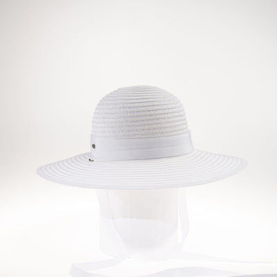 MONICAN LARGE CLOCHE WITH RIBBON NECK TIE GOLF  7500 WHITE ADJUSTABLE