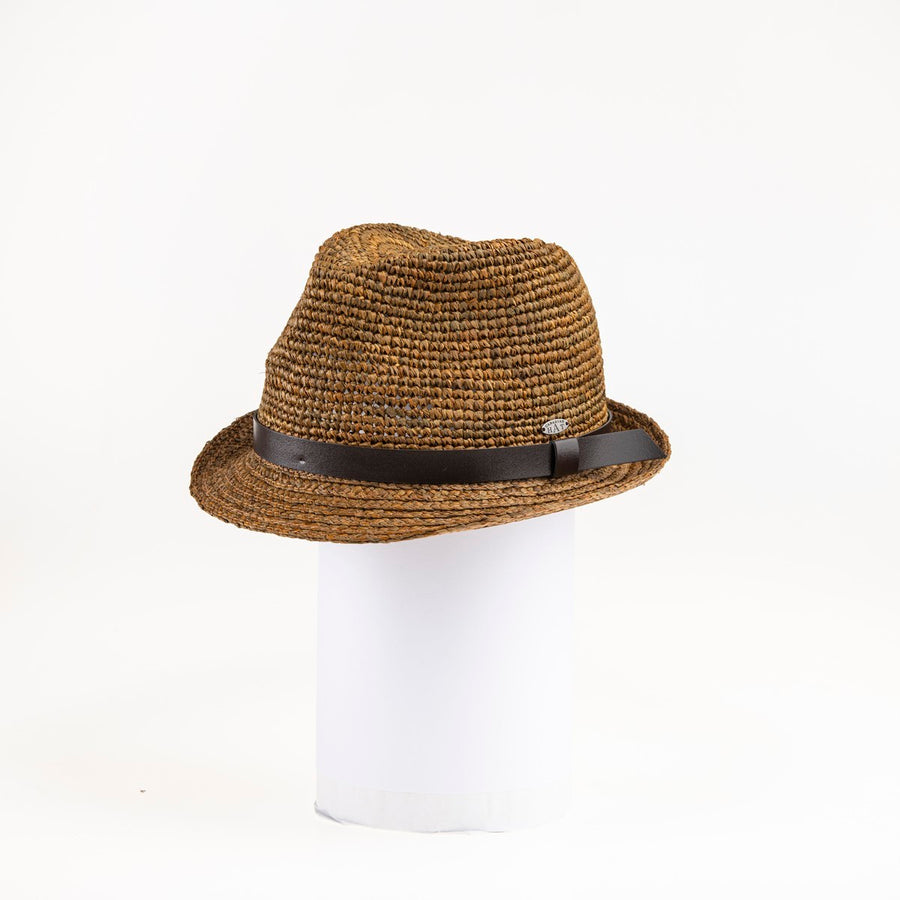 CARL  FEDORA W/ LEATHER TRIM