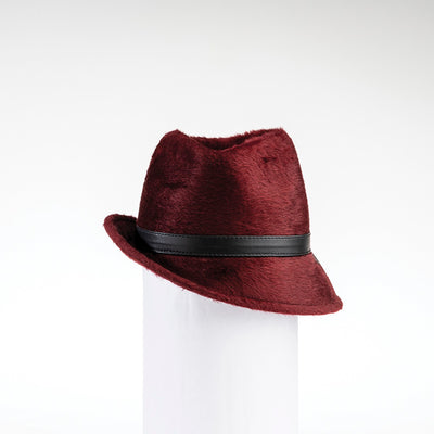 FABIA - FUR FELT FEDORA WITH SIDE RISE GOLF  3800 BURGUNDY 59